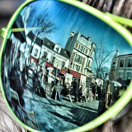 Transportation Building Exterior Built Structure Architecture Mode Of Transport Outdoors Car City Life Real People City Land Vehicle Fish-eye Lens Day Speed Tilt-shift Paris Sunglasses Place Du Tertre Montmartre Art Sunny Holiday Sightseeing Paris, France  EyeEmNewHere