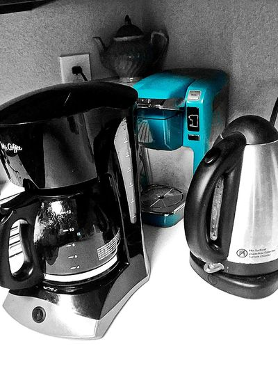 Hot beverage station. No People Indoors  Aluminum Close-up Blue Black And White Black White Blue Coffee Tea Kettle Coffeemaker Kitchen Appliance Reflection Modern Urban Home Apartment Teapot Counter