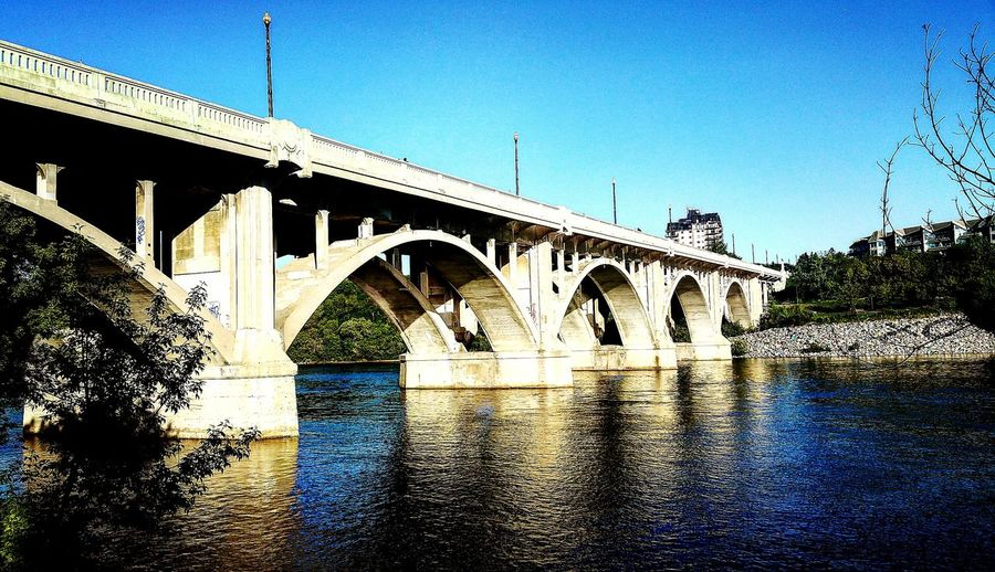 Bridge - Man Made Structure Connection Architecture No People Sunlight Built Structure Transportation Arch Day River Outdoors Water Clear Sky Sky Nature Low Angle View Tranquility Reflection Scenics Xø City Illuminated Place Of Heart Live For The Story EyeEmNewHere