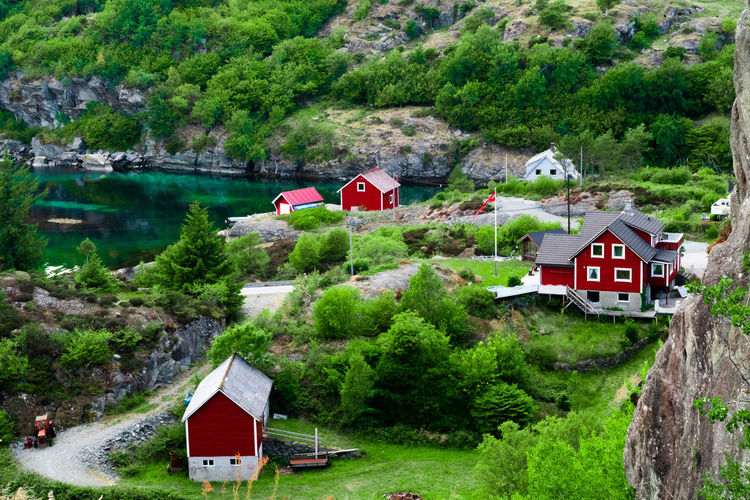 Grutle on Bømlo Beauty In Nature Building Green Color House Land No People Outdoors Scenics - Nature Water