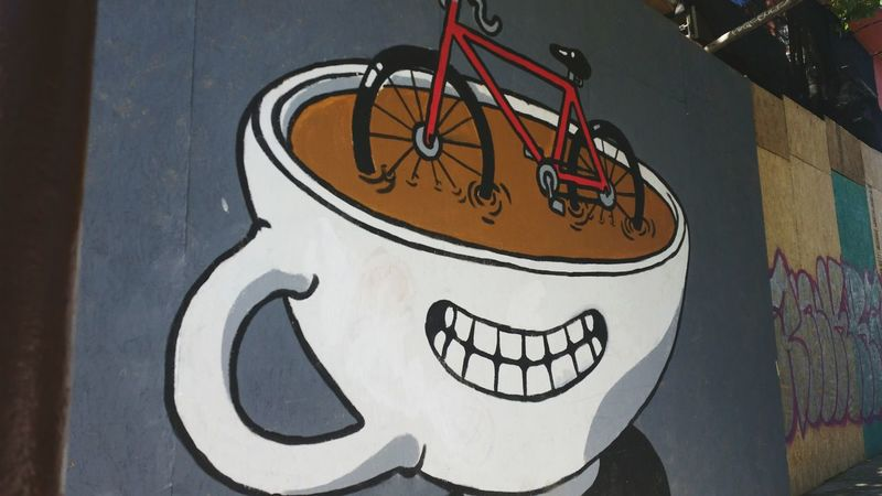 Quick snap on Telegraphy Ave. The OO Mission Streetphotography Street Photography Art Streetart Street Art Mural Mural Art Telegraph Ave. Coffee Coffee Cup Coffee Art Bicycle Bicycle Art Red Bike Vibrant Painting The Street Photographer - 2016 EyeEm Awards Eyeemphoto