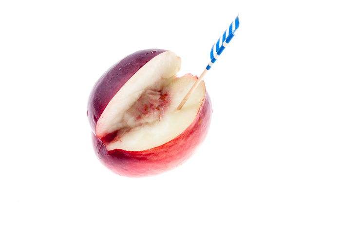 Close-up Cut Food Food And Drink Freshness Fruit Greek Flag Healthy Eating Juicy Nectarines No People Papers Stone Studio Shot White Background