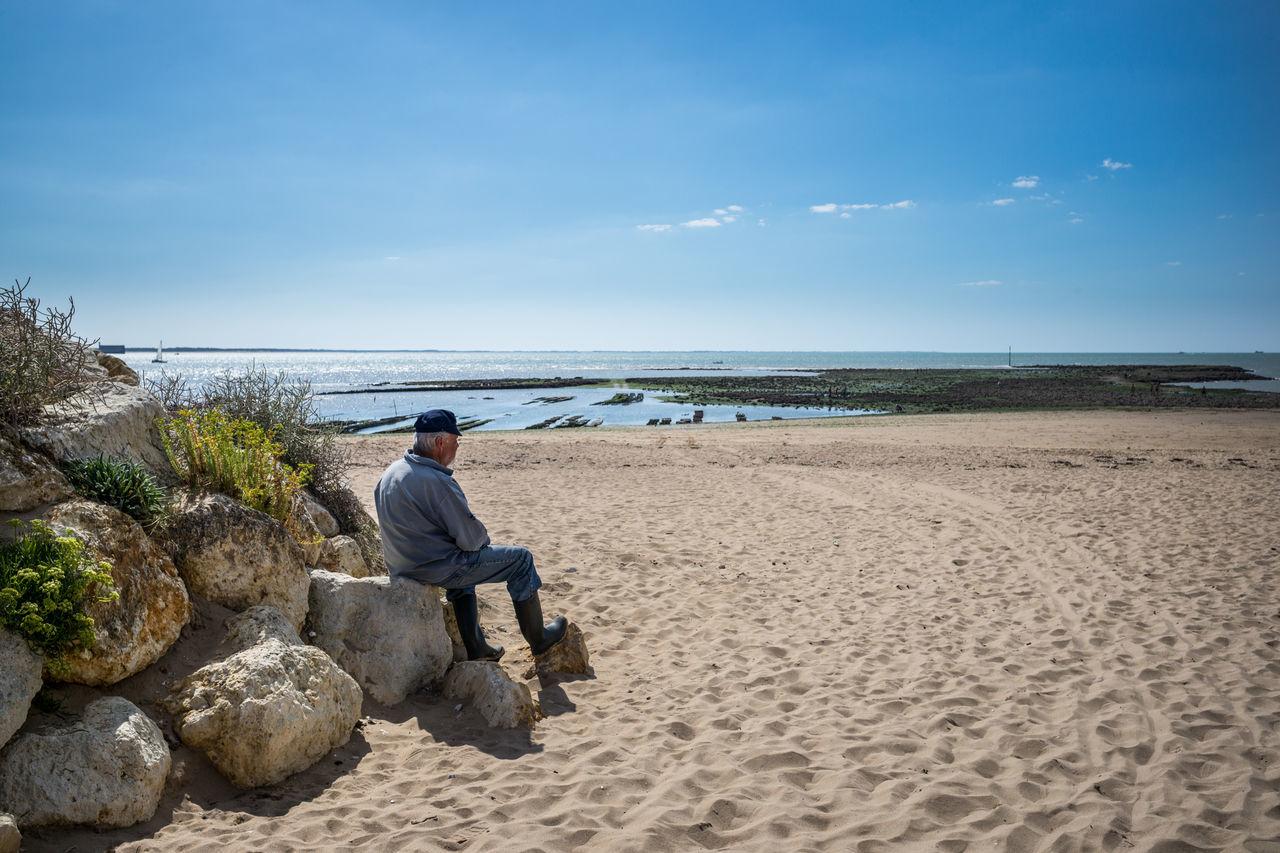 sea, beach, real people, nature, sky, one person, water, horizon over water, sitting, rear view, sand, full length, tranquility, rock - object, leisure activity, day, tranquil scene, beauty in nature, men, casual clothing, scenics, outdoors, cloud - sky, lifestyles, one man only, adult, people