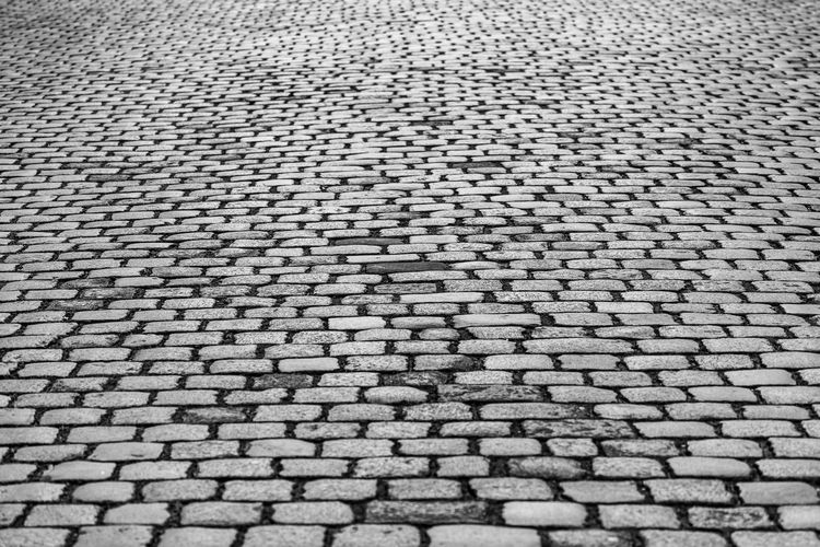 Black And White Cobblestone Urban Street Full Frame Pattern Backgrounds Textured  No People High Angle View Repetition Close-up Large Group Of Objects Design Footpath Industry Gray Outdoors Mat Textile Abundance Day Man Made Object