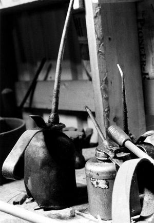 'Oil Can' Antique oil cans found inside farm's blacksmith shop. Shot on B&W film, hand-printed silver gelatin print. Antique Blacksmith  Cans Farm Industrial Machinery Mechanic Working Blackandwhite Close-up Day Film Photography Indoors  Lubricant Metal No People Oil Oil Can Silver Gelatin Print Tools