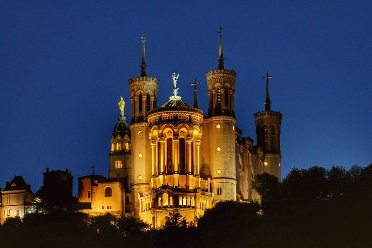 Architecture Building Exterior Built Structure Night Illuminated Religion Low Angle View Blue History No People Spirituality Dome Clear Sky Travel Destinations Outdoors Sky