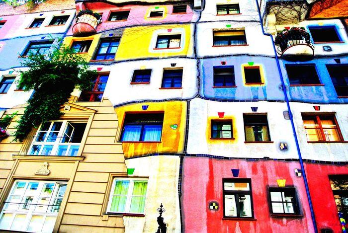 Hundertwasserhaus Vienna Colors Colorful Architecture Art House Window Houses Windows Painted Wall Painted Houses ArtWork Houses And Windows Colour Colours Paint Painted Square Squares Pattern Grid Patterns Wall Wallart