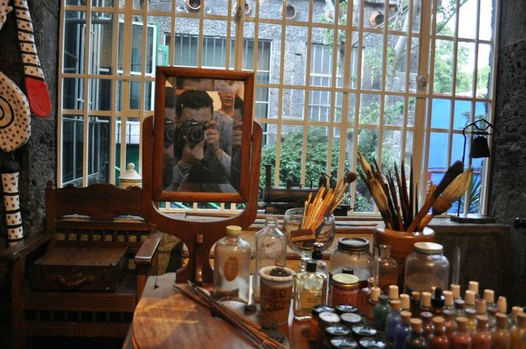 Frida Khalo & Diego Rivera house CDMX Art And Craft Choice Close-up Creativity Day Glass - Material Indoors  Large Group Of Objects No People Paintbrush Reflection Shelf Table Transparent Variation Window
