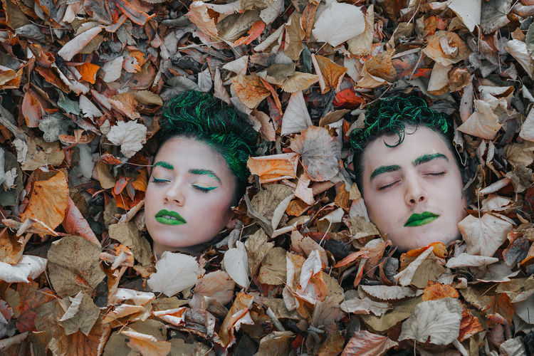Still fresh. Make-up Nature Covered Covered In Leaves Autumn Autumn Leaves Women Men Eyes Closed  Togetherness Portrait Couple Doll Backgrounds Full Frame Human Representation Female Likeness Close-up Male Likeness Mannequin Sculpture 14923864 Autumn Mood
