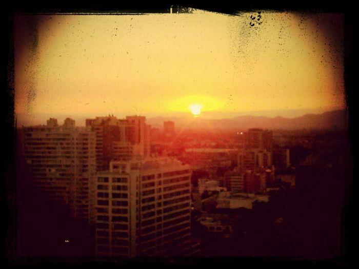 vista desde el balcon .. Atardecer Sol Desdemiventana Chile