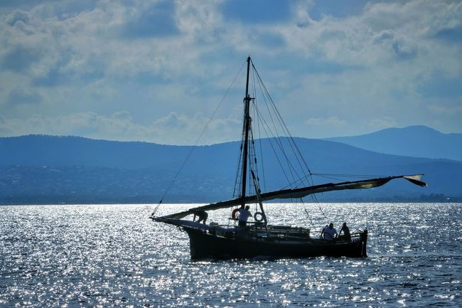 Sea And Sky Good Morning Idyllic Saint Raphael Reflections In The Water Silhouette Blue Boat Boats Fisherman France Sea And Sky Water Nautical Vessel Sky Transportation Sea Mode Of Transportation Cloud - Sky Sailboat Beauty In Nature Mast