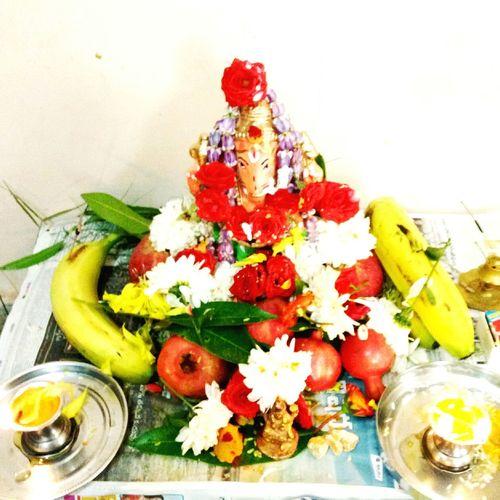 Ganesh pooja in india...... Flower Freshness Flower Arrangement Decor Culture GaneshChaturthi Indian God
