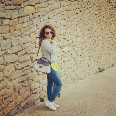 Zara SPAIN Spring Shatush Shopping Pois Outfit NY Casual Cool Colors Lime Jeans Grey