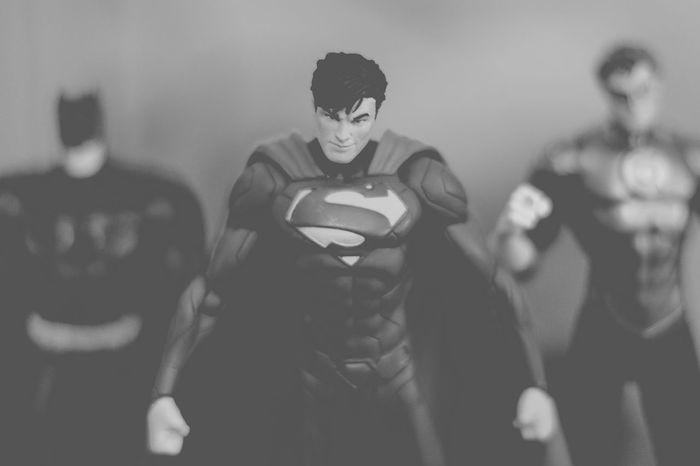 Dont mess with the justice league Action Figures Batman Black And White Photography Bnw DC Dccomics Defiance Focus On Foreground Green Lantern  Justice League Leisure Activity Nerd Things Nerdy Play Time Powerful Selective Focus Still Life Superhero Superheroes Superman Toys This Is Masculinity