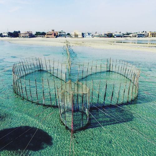 Traditional Fishing System Kuwait 7athra Sea Blye Water Fishing Beach Tranquility Beauty In Nature Horizon Over Water Nature Tranquil Scene Outdoors No People Drone  Dronephotography Droneshot Drones