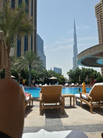 Burj Khalifa Pool Poolside Relaxing Moments Shangri-La Shangrila Taking Photos Vacation Viewpoint