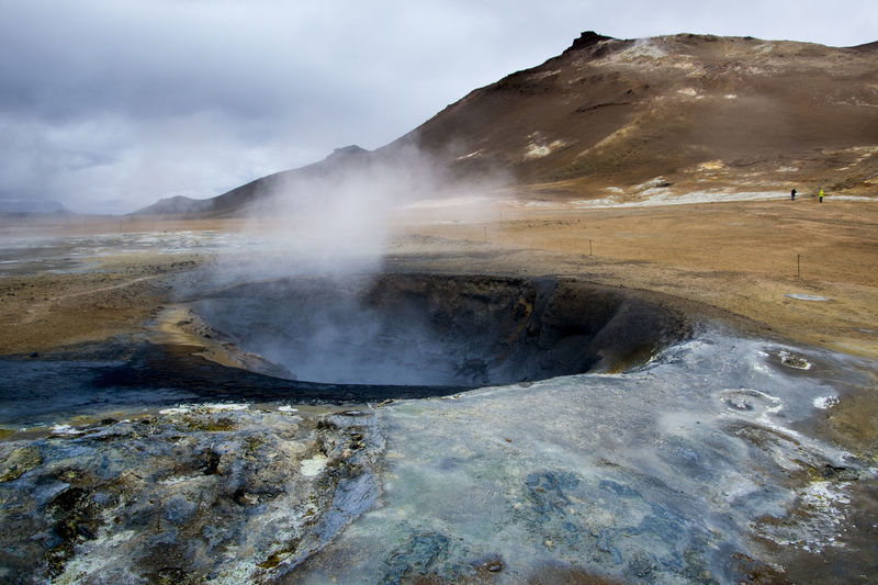 High angle view of smoke emitting from hot spring