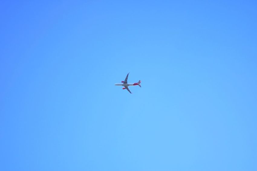 Copy Space Flying Clear Sky Low Angle View Transportation Airplane Blue Air Vehicle Airways No People Day Outdoors Nature Flying High Breathing Space