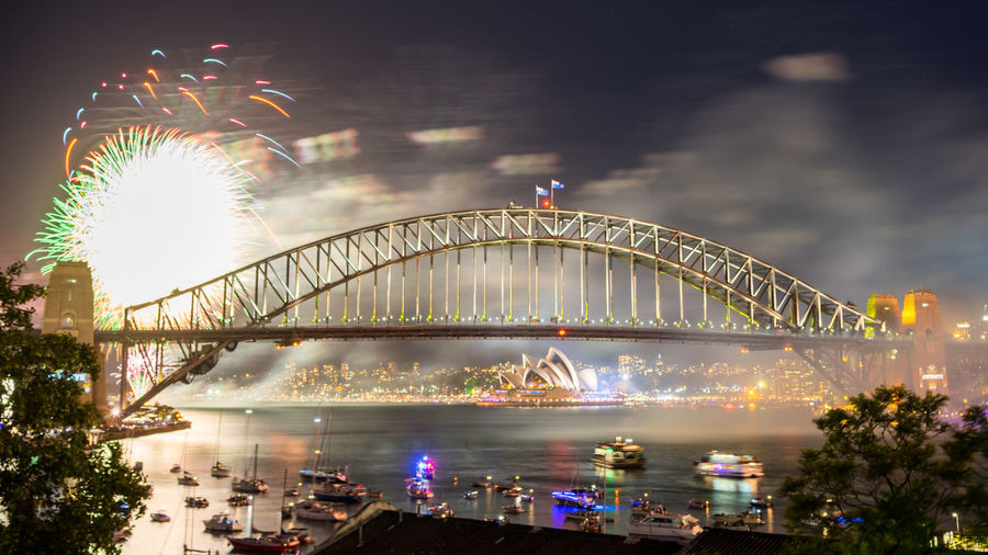 Sydney Harbour Bridge Fireworks Display during New Year eve 2017 Bridge - Man Made Structure City Cityscape Firework Display Harbor Horizontal Icon Midnight New Year New Year's Eve Night Outdoors People Performing Arts Event Sport Travel Destinations Vacations Water