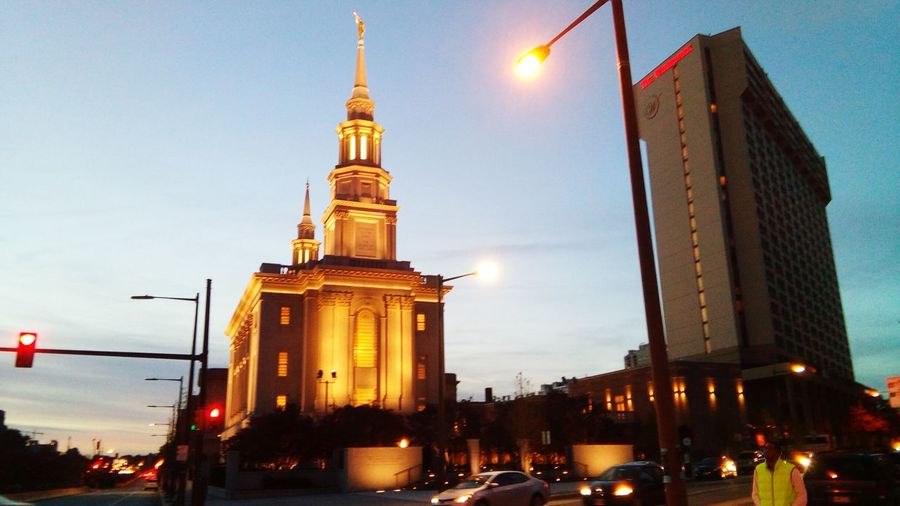 Illuminated Architecture Night City Building Exterior No People Built Structure Church Exterior Church Place Of Worship Religion Travel Destinations Architecture Tower Sunset Sky Autumn 2016