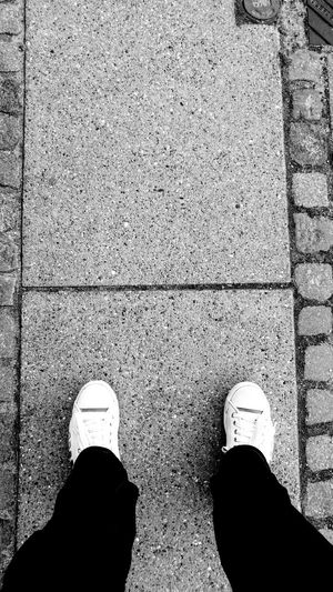 Person Standing Shoe Concrete Casual Clothing Human Foot Lifestyles High Angle View Footwear Personal Perspective