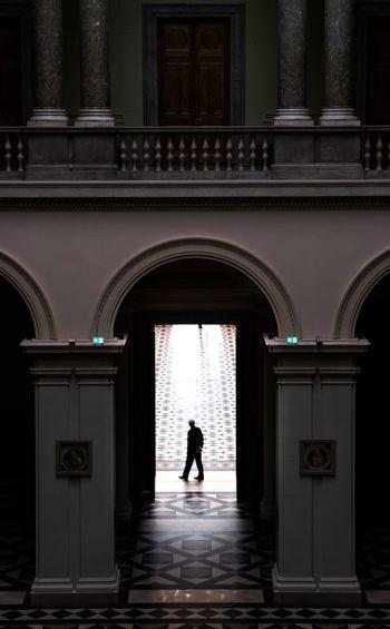 Guard Hungary Budapest Szépművészeti Múzeum Architecture Arch Built Structure One Person Real People Building Exterior Full Length Entrance Building Silhouette Walking Adult Door Standing Architectural Column
