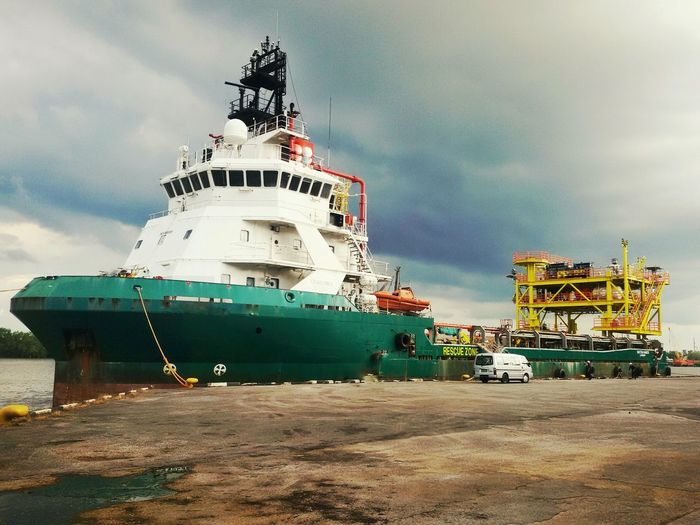 PSV with platform jacket on deck Platform Vessel Supply Vessel Oil And Gas Drilling Rig Oil Company