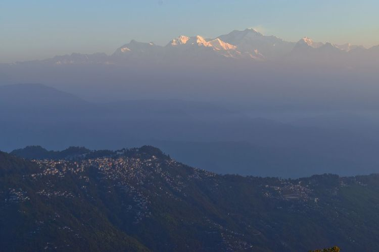 Vacation Time Dawn First Morning Light Glowing Nature God's Beauty Himalayan Range Mountain Snow Mountain Peak Forest City Landscape Sky Winter Mountain Range Urban Skyline Outdoors Shades Of Winter