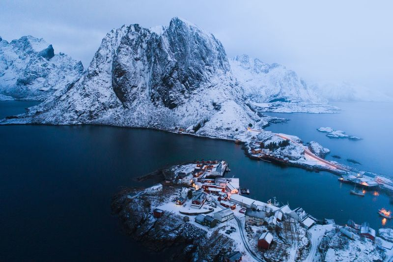 Paradise island Lofoten Islands Lofoten Water Nautical Vessel Sea Transportation Beauty In Nature Scenics - Nature Nature Winter Cold Temperature No People Mountain