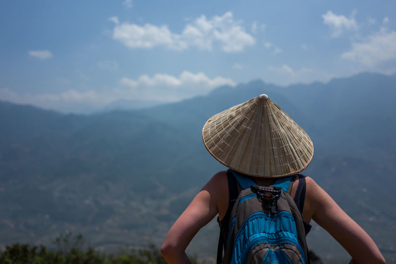 Sa Pa view, Vietnam Adventure Beauty In Nature Clothing Cloud - Sky Day Hat Leisure Activity Lifestyles Men Mountain Mountain Range Nature Non-urban Scene One Person Outdoors Real People Scenics - Nature Sky Trip Vacations