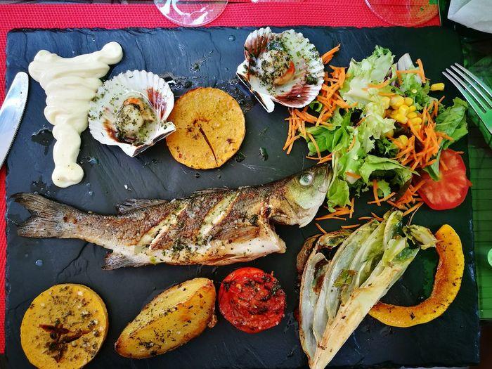 High angle view of food on slate