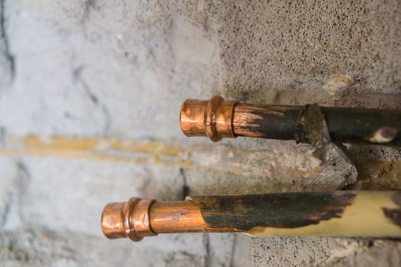 Home Refreshment Renovation Renovations Wall Close-up Copper Pipe Copper Tubes Day House Indoors  Metal No People Pipe - Tube Refreshing Rusty Water Water Pipe Water Pipe Burst