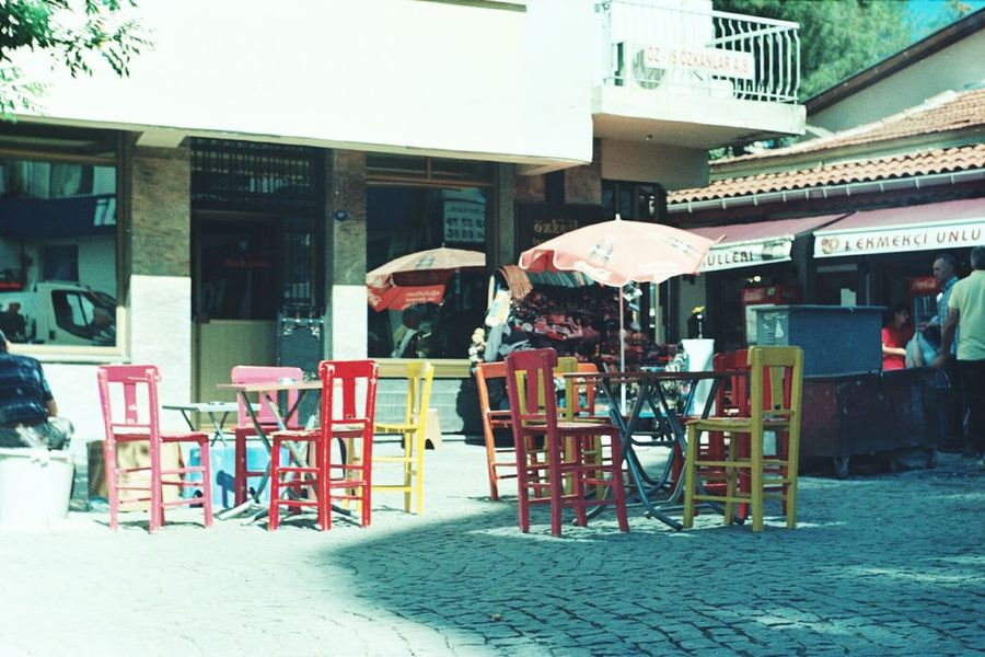 Analog Camera Film Filmisnotdead Chairs Colourful Analog Photography Streetphotography Streetphoto_color Zenit Et Bornova