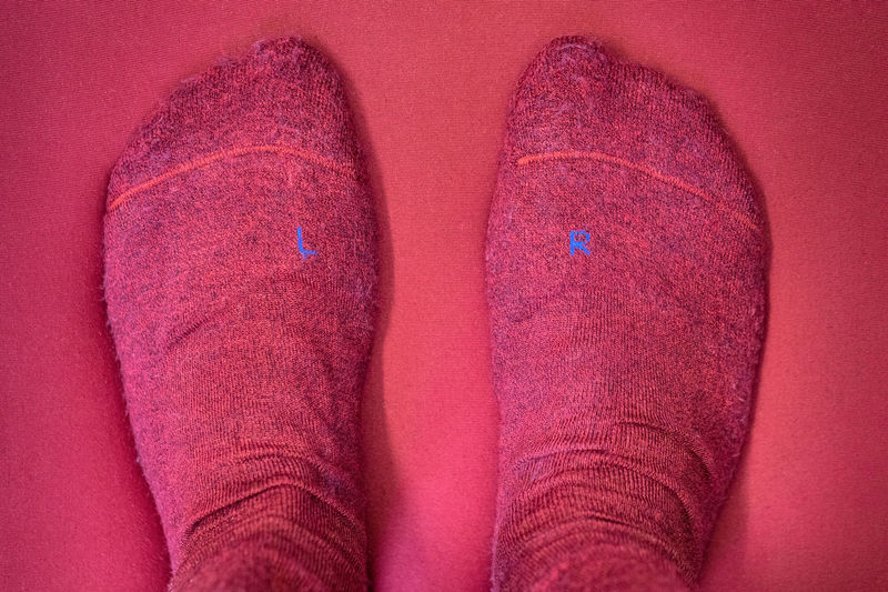 Low Section Of Person Wearing Red Socks