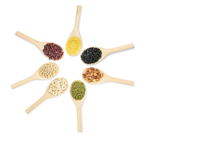 Collection set of beans and sesame on wooden spoons isolated on white background,top view Kidney Many Mash Beans Seed Spoon Bean Close-up Collection Food Food And Drink Freshness Grain Healthy Eating Ingredient Legume Lentils No People Organic Soy Studio Shot Vegetable White Background Woodenbeans