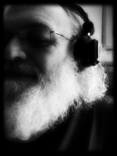 sonic solitude Beard Pioneer DJ Headphones Bald Man Black And White Portrait