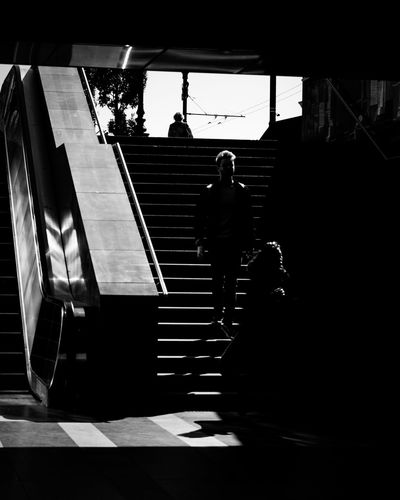 Rear view of silhouette people walking on staircase