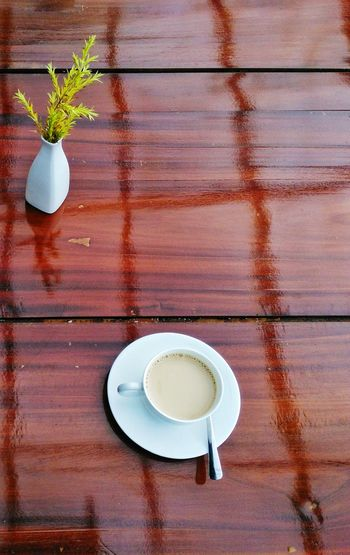 Coffee/Tea on wooden table with flower vase. Drink Table Wood - Material High Angle View Food And Drink No People Indoors  Refreshment Breakfast Dining Table Latte Freshness Tabletop Close-up Day Tea Tea Time Coffee