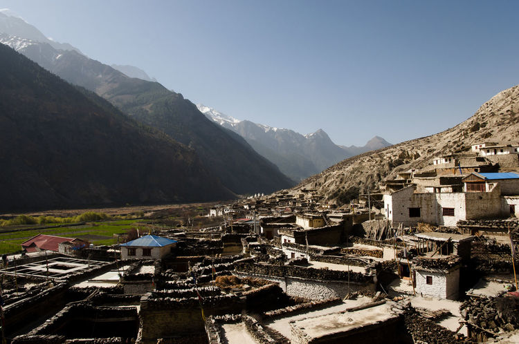 Marpha Village Himalayas Nepal Marpha Mountain Range Residential District Village