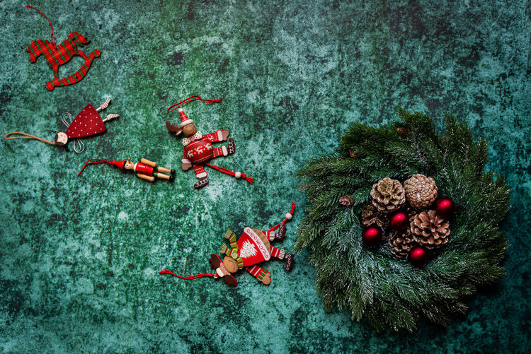 High angle view of red berries on christmas tree