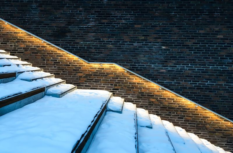 No People Day Nature Built Structure Cold Temperature Wall - Building Feature Snow Staircase Pattern Wall Building Exterior