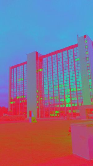 Red Pink Color Clear Sky Blue Architecture No People Built Structure Multi Colored Building Exterior Day Modern Outdoors Sky Neon
