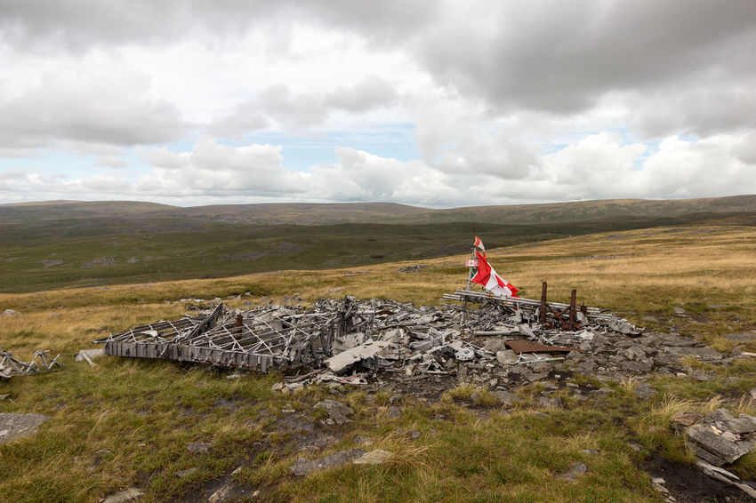 The wreckage of a Canadian crewed Wellington Bomber MF-509, on the Black Mountain in the Western Brecon Beacons Black Mountain Brecon Beacons Canadian Cloudy MF-509 Mf509 Memorial Wales Wellington Bomber Barren Crash Site Flag Landscape No People Outdoors Plane Crash Remote