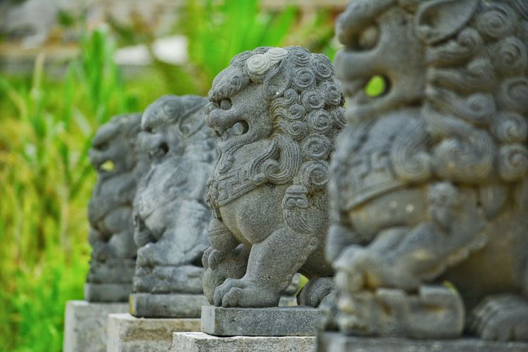 Close-up of statue at temple