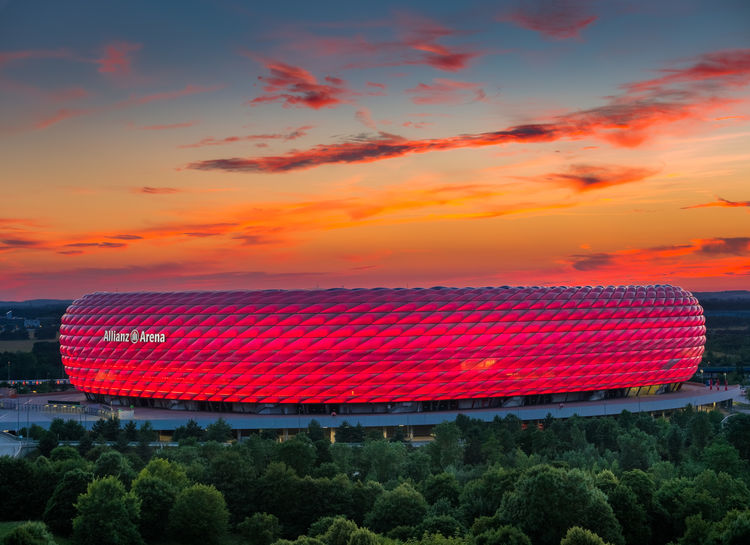 Famous football stadium Allianz Arena in Munich, Bavaria, Germany, Europe München Munich Allianz Arena Alliance Arena Bayern Bavaria Deutschland Germany Fussball Soccer Stadion Stadium No People Outdoors Sky