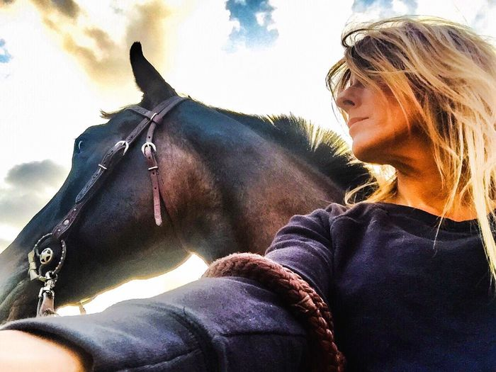 One Soul Horse Horse And Woman Outdoors Sky