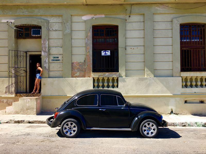 Building Exterior Car Outdoors Day Woman Waiting Beetle Black Car Black Beetle Havana Havana, Cuba