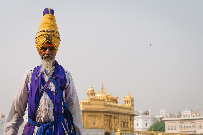 Travel Destinations Religion Architecture One Person Adult People One Man Only Day India Indian Sikh Sikhism Guru Gurudwara Golden Temple Old-fashioned Traditional Clothing Punjab Amritsar