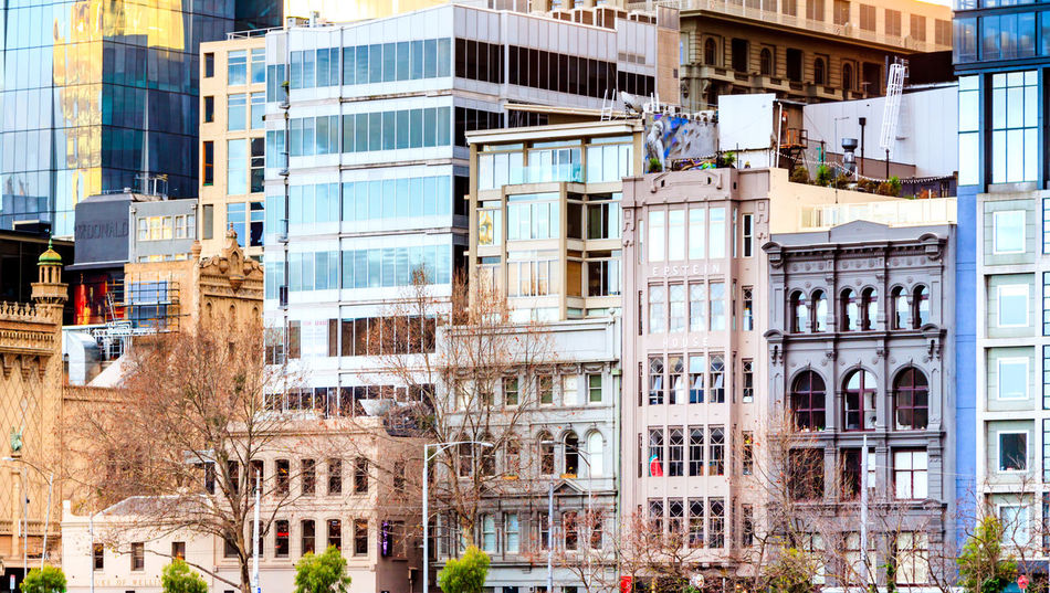 Details of classic buildings along Flinders Street Architecture Building Exterior Built Structure City Day No People Outdoors Tree Urban Urban Skyline Window