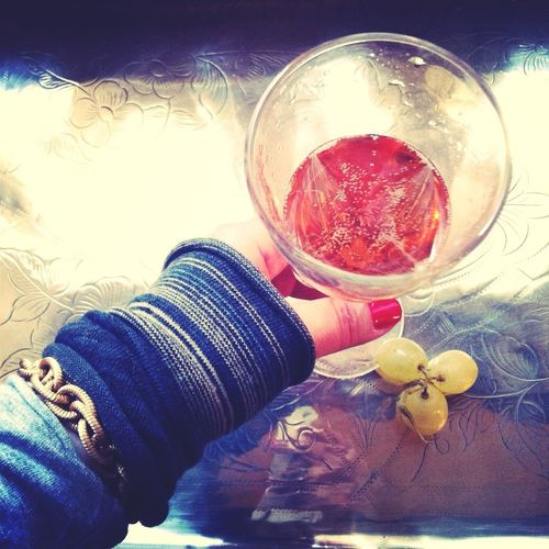 New Year's Day ritual: a toast with pink Champagne, eat 3 white grapes, and touch gold. #2012